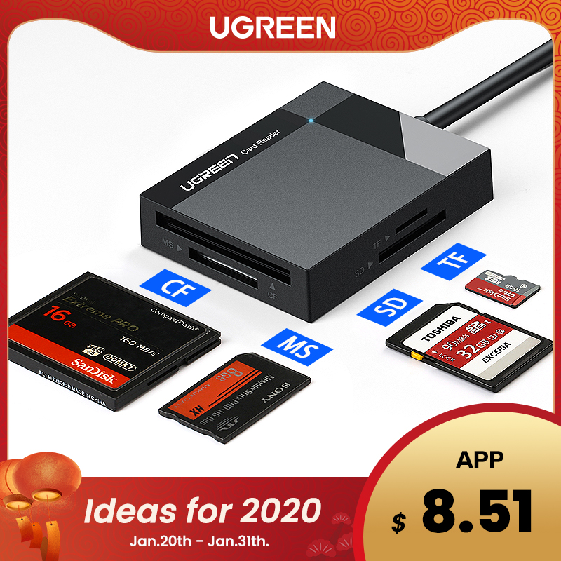 Ugreen USB 3.0 lecteur de carte SD Micro SD TF CF MS adaptateur pour ordinateur portable de carte Flash compacte OTG Type C à lecteur de cartes multiples USB 3.0