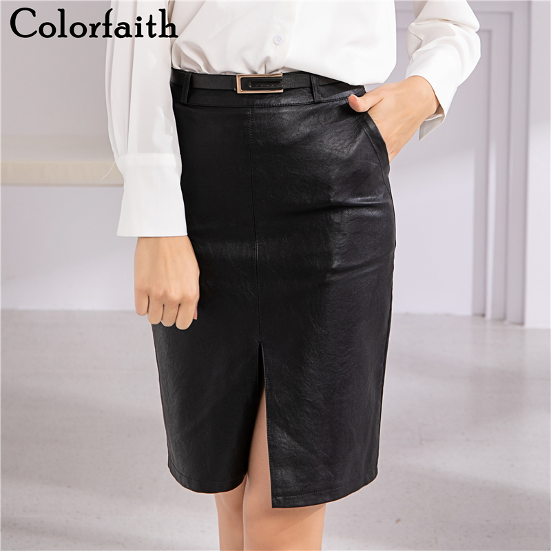 Colorfaith New 2019 Women PU Leather Skirt Autumn Winter Fashion Empire Straight Mini Skater Skirt Female Black With Belt SK6603