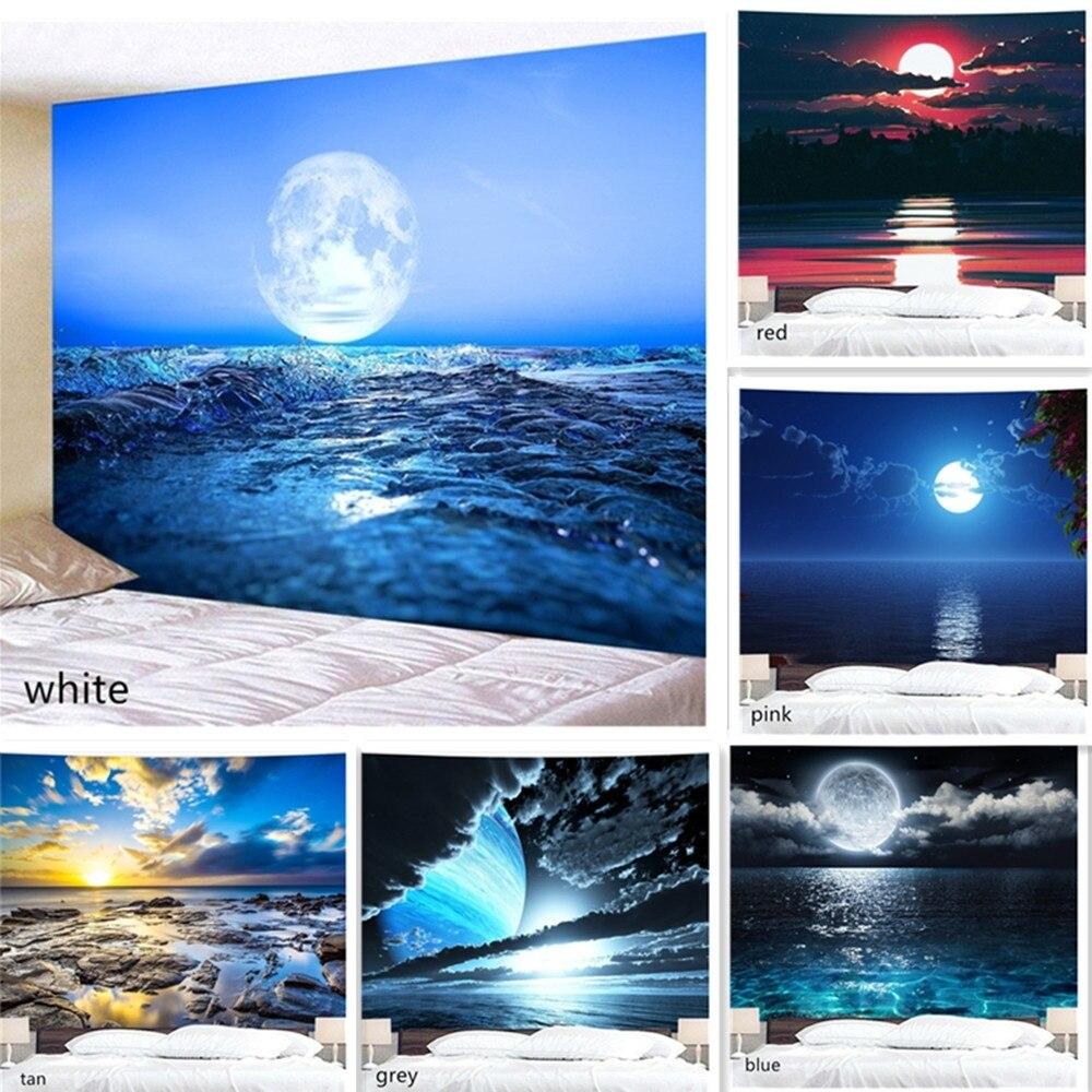 Морская луна, 3D печать, гобелен для спальни, гостиной, фоновая ткань, подвесной фон для фотографий, настенный гобелен