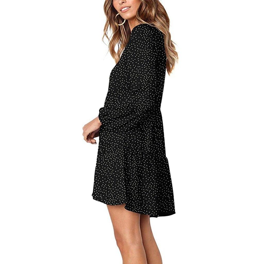 Dresses For Women Casual Dot V Neckline Mini Dress Short Sleeve Ruffle Loose Swing Dress Undefined