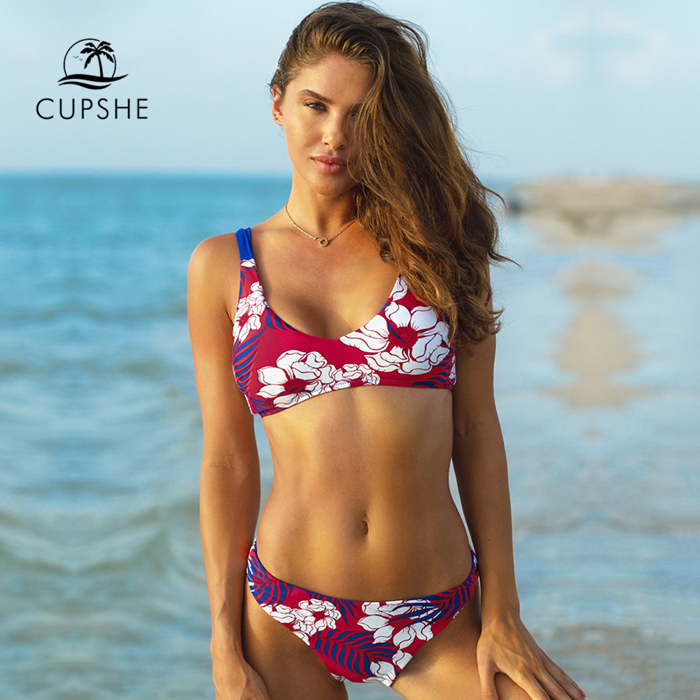 CUPSHE Tropical Floral Print Low-waist Thong Bikini Sets Sexy Lace Up Swimsuit Two Pieces Swimwear Women 2020 Beach Bathing Suit