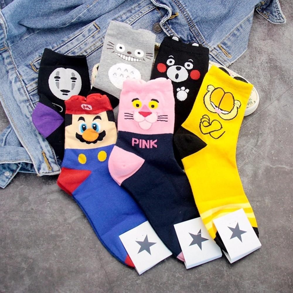 Cartoon My neighbor totoro socks Kumamon Super Mario Garfield cute funny women sock spring autumn warm comfortable cotton socks