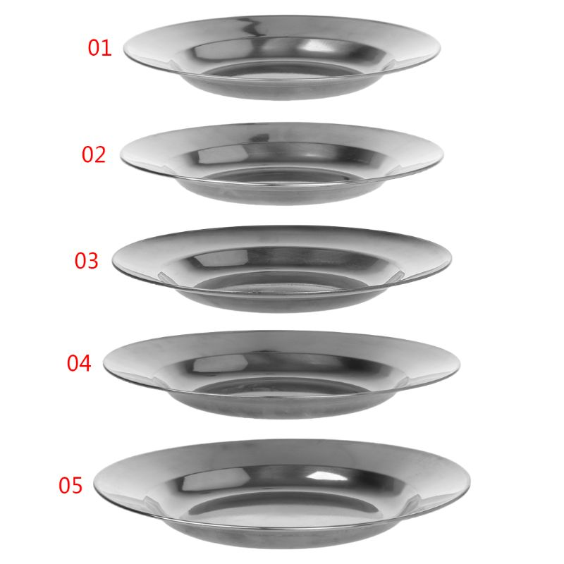 Stainless Steel Round Dinner Plate Dish Tray Food Container  Outdoor Camping Picnic Tableware 16-24cm