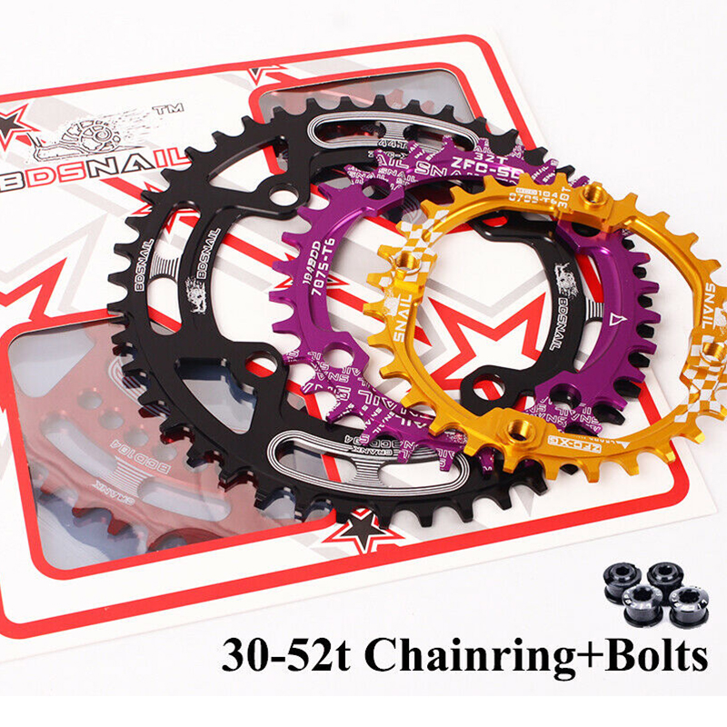 SNAIL MTB Crankset 104BCD Narrow Wide Chainring Round 30t <font><b>32t</b></font> 34t 36t 38t 40t 42t 44t 46t 48t 50t 52t Chain Wheel Bicycle Parts image