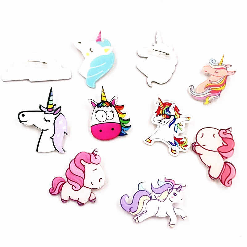 1 pz icone unicorno cavallo animale sul perno icona Kawaii Badge Badge su zaino Badge per abbigliamento spilla distintivi in acrilico