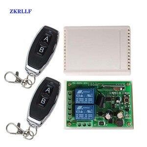 Transmissor sem fio rf, transmissor de controle remoto + receptor de relé rf 433 mhz ac 110v 120v 220v 2ch rf para abridor de porta da garagem luz