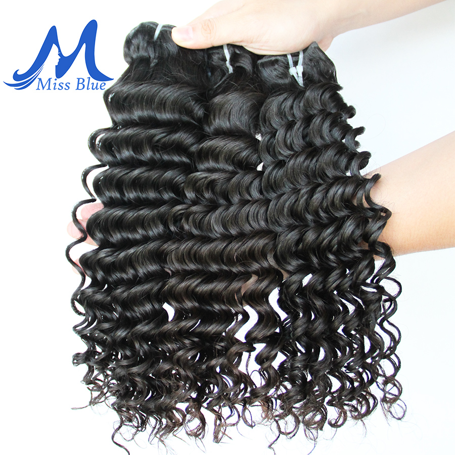 Missblue Deep Wave Malaysian Hair Weave Bundles 1 3 4 Pieces 100% Human Hair Bundles Natural Color Remy Hair Extensions
