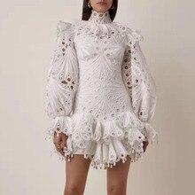 2019 חדש נשים לבן תחרה שמלה