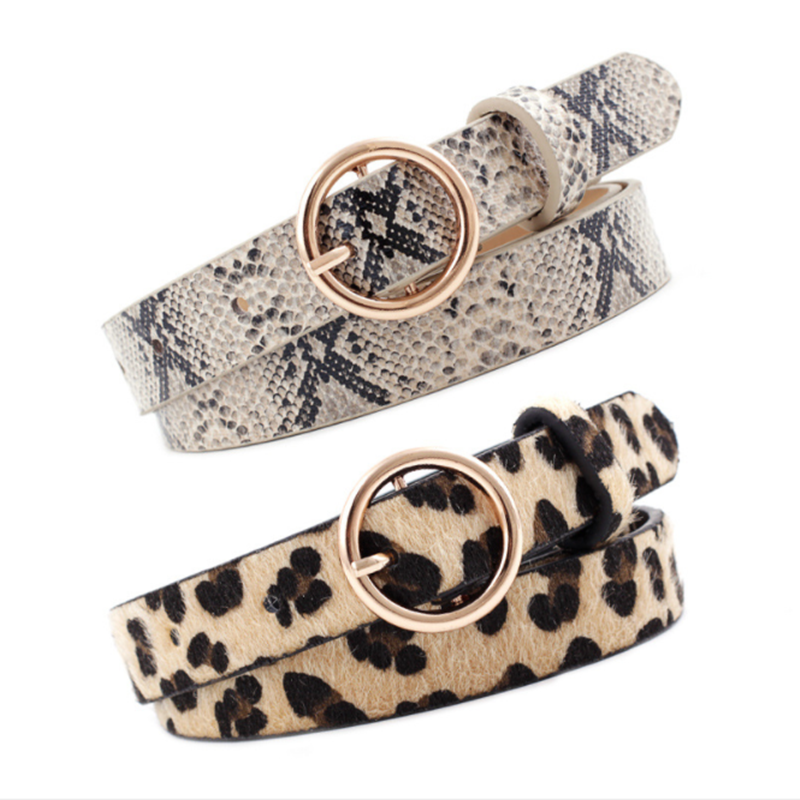 Fashion Leopard Belt Women Snake Zebra Print Thin Horsehair Waist Belt PU Leather Gold Ring Buckle Belts For Ladies Female