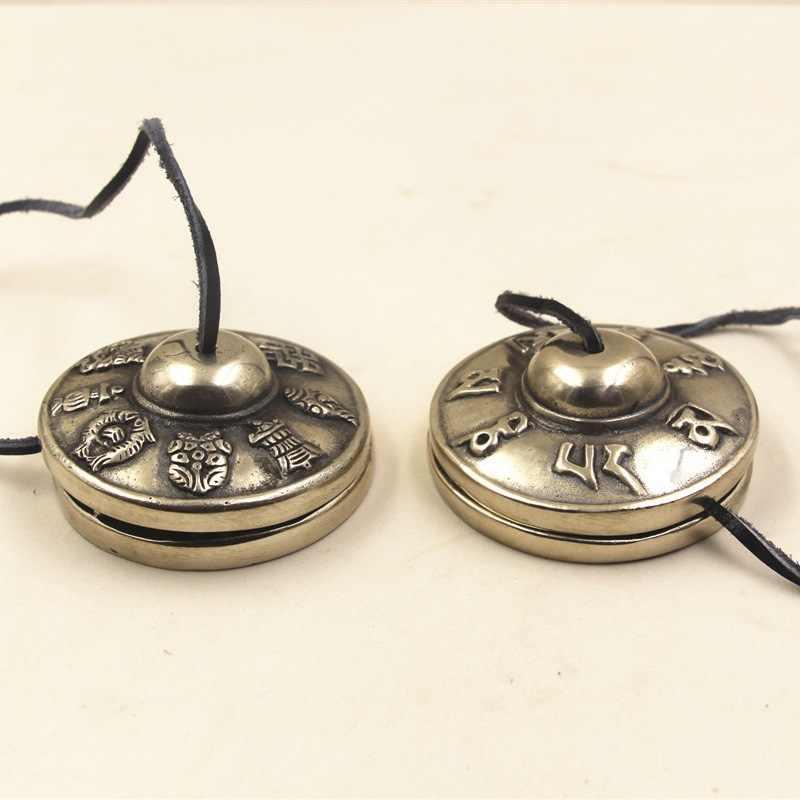卸売宗教乗数本ネパール輸入手作り銅ガラガラ鐘リンギング鐘仏教用品