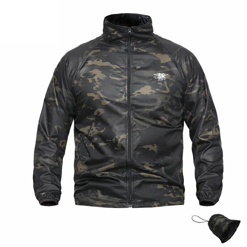 Summer Jacket Men Bomber Camouflage Tactical Seal Skin Sunscreen Waterproof Comabt Camo Jacket Coat Men Outwear Windbreaker Male