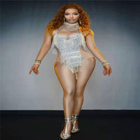 T08 Sexy female rhinestone bodysuit sparkly diamonds tassels Tights stage dance costumes party wears leotards printing outfits