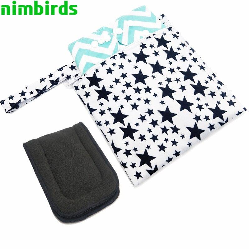 Waterproof Wet Bag Fashion Prints Wet Dry Diaper Bag Pocket Nappy Wetbags Reusable PUL Travel Wet Dry 20X23 Cm Diaper Bag