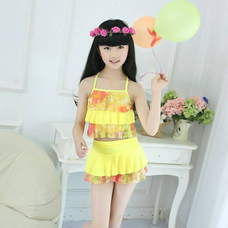 Chiffon Hipster Cute Two-piece Swimsuits Moisturizing Flounced Culottes Drainage Breathable Yiwu Bathing Suit