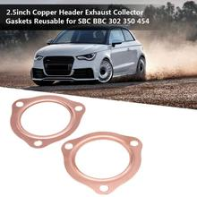 Durable 2PCS 1/2 Copper Header Exhaust Collector Gaskets 2.5 Inch Reusable For SBC BBC 302 350 454 Car Accessories CSV