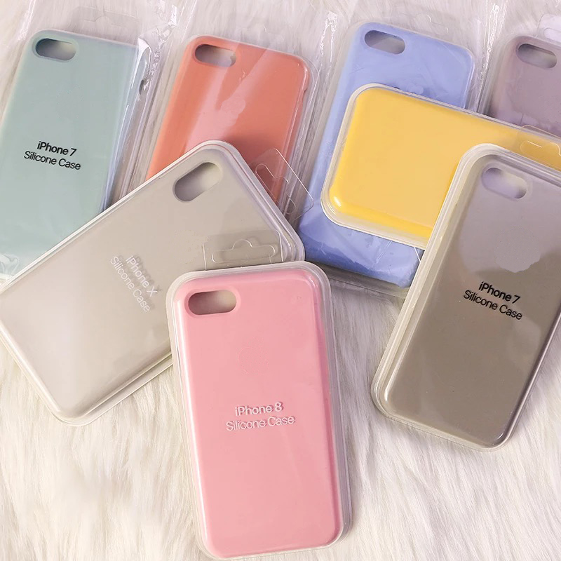Official <font><b>Original</b></font> style Silicone Cover For <font><b>iphone</b></font> <font><b>7</b></font> 8 Plus <font><b>case</b></font> for apple XR Coque for <font><b>iphone</b></font> 6S Plus XS max Fundas Without <font><b>Logo</b></font> image