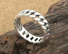 925 Sterling Silver Thai silver hollow Ring fine jewelry Creative simple smooth Ring S212