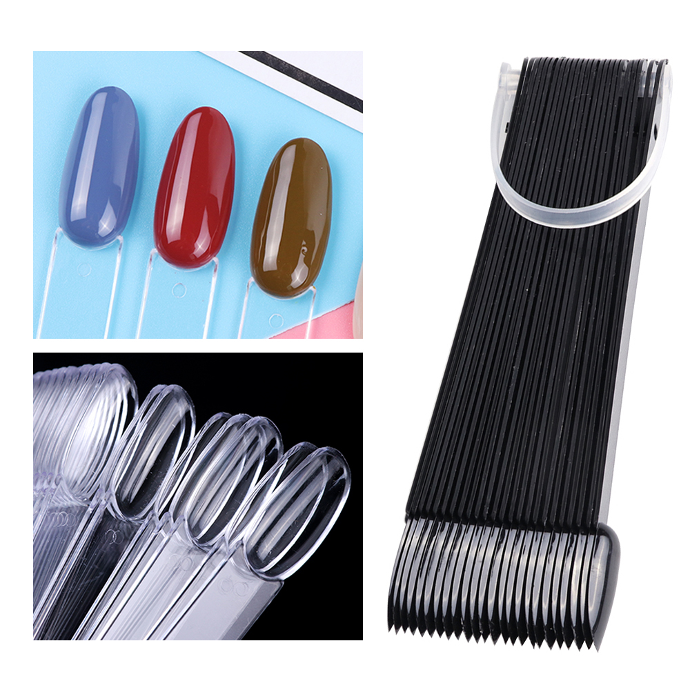 50pcs False Nail Set Oval Shape Faux Ongles Clear Black Practise Full Nail Tips Fan Clear Tips for Polish Design Manicure LAA23(China)