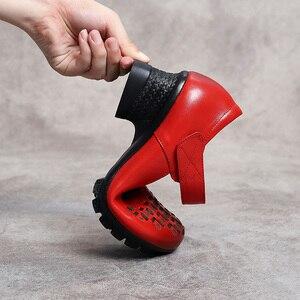 Image 5 - Женские туфли лодочки без застежки GKTINOO, весенне осенние туфли из натуральной кожи на толстом каблуке с круглым носком в стиле ретро