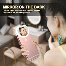 Heart shaped LED Selfie Ring Lamp with Mini Makeup Mirror Dimmable USB Rechargeable Portable Mobile Phone Holder Clip lens Light