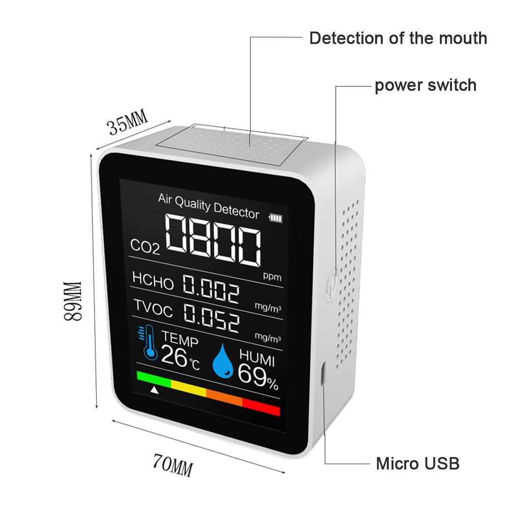Humidity Air TVOC Dioxide Intelligent Detector CO2 Quality Sensor Air Monitor Carbon Tester Temperature And Detector Detector