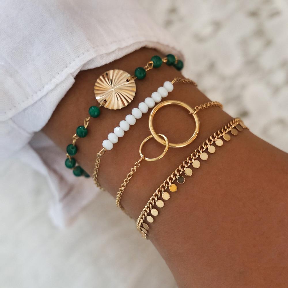 New Punk Rhinestone Geometric Chain Bracelets Set for Women Bohemia Multilayer Beads Charm Bangles Fashion Party Jewelry Gift