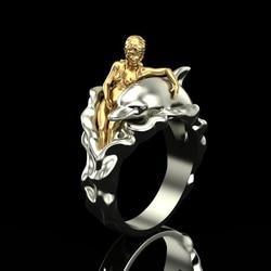 FDLK kobieta i delfin pierścienie świadczące o osobowości moda luksusowy złoty kolor panie ślub biżuteria zaręczynowa rocznica urodziny prezent