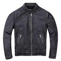 2019 Vintage Schwarz Männer Slim Fit Biker der Leder Jacke Plus Größe XXXXL Echte Dicke Rindsleder Amerikanischen Leder Mantel FREIES VERSCHIFFEN