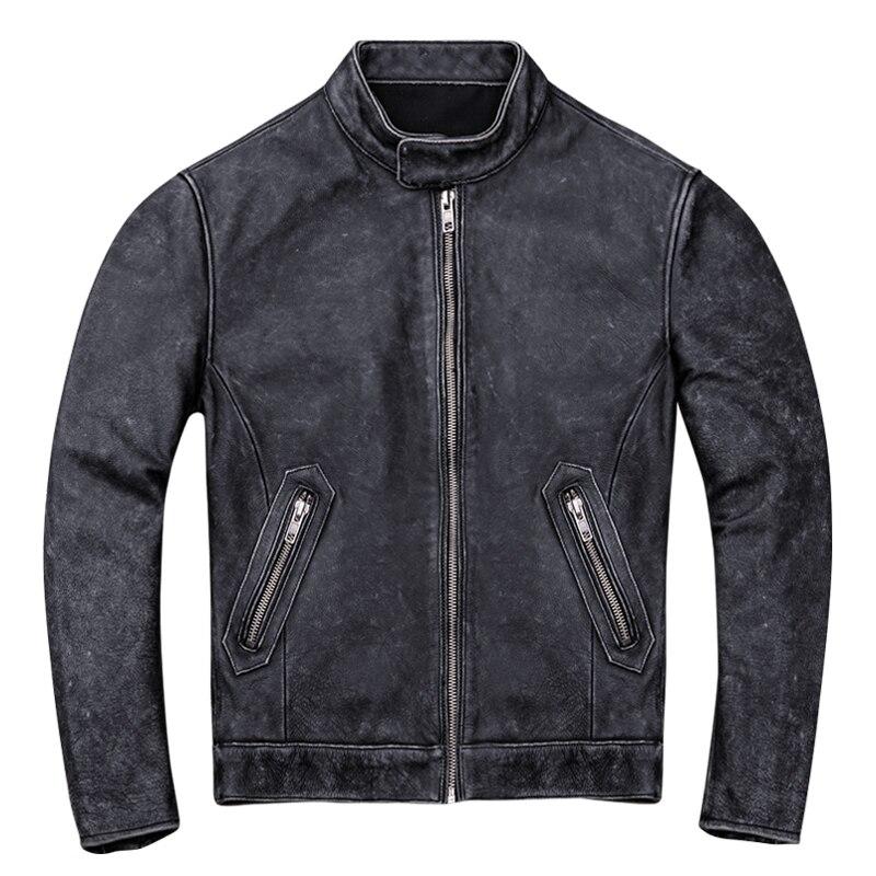 2019 Vintage noir hommes Slim Fit Biker veste en cuir grande taille XXXXL véritable épais peau de vache américain en cuir manteau livraison gratuite