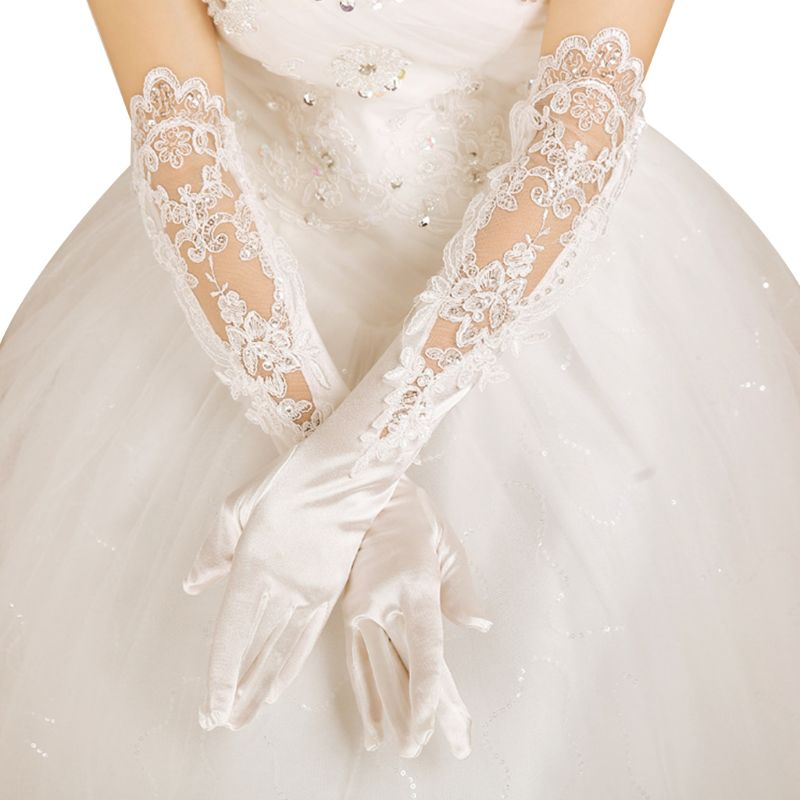 Wedding Bridal Long Gloves Hollow Embroidery Sequins Floral Lace Satin Mittens