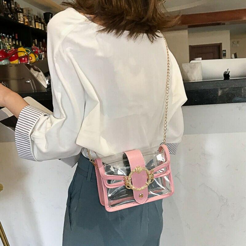 Women Clear PVC Transparent Jelly Handbag Tote Messenger Crossbody Shoulder Bag