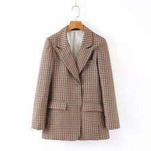 Women Plaid Suit Coat Winter Plus Size Long Sleeve Loose Overcoat British Style Thick Jacket