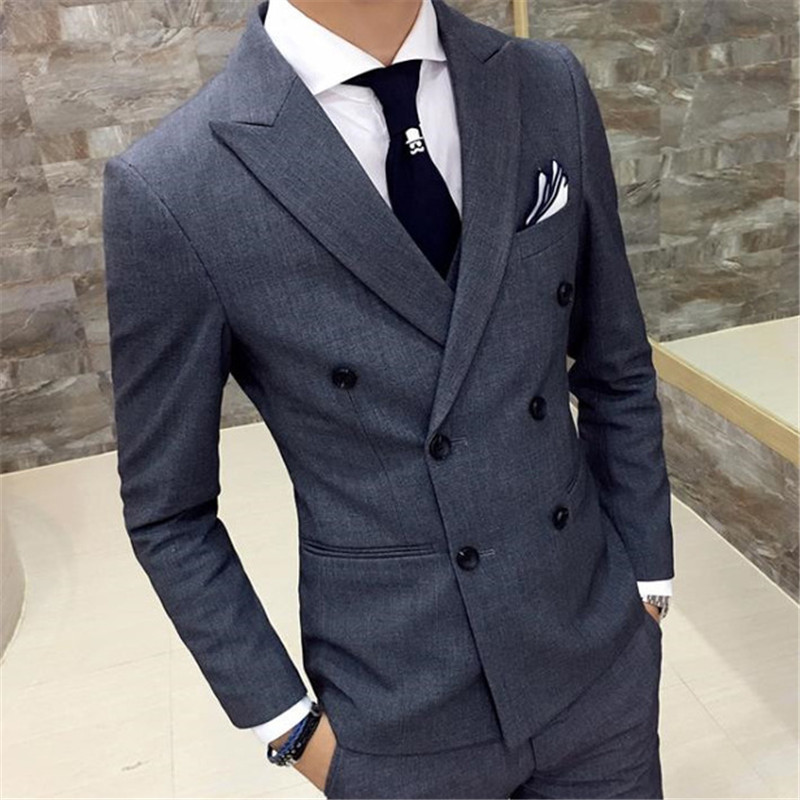 2020 Fashion Gray Double Breasted Grey Men Suit For Man Wedding 2 Pieces (Jacket+Pant) Custom Made Masculino Mens Suts