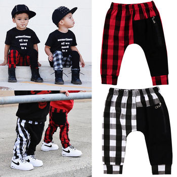 1-6Y Fashion red black plaid patchwork boys cool pants Toddler Kids Boys Plaid Pants Panty Harem Pants Trousers 2019 image