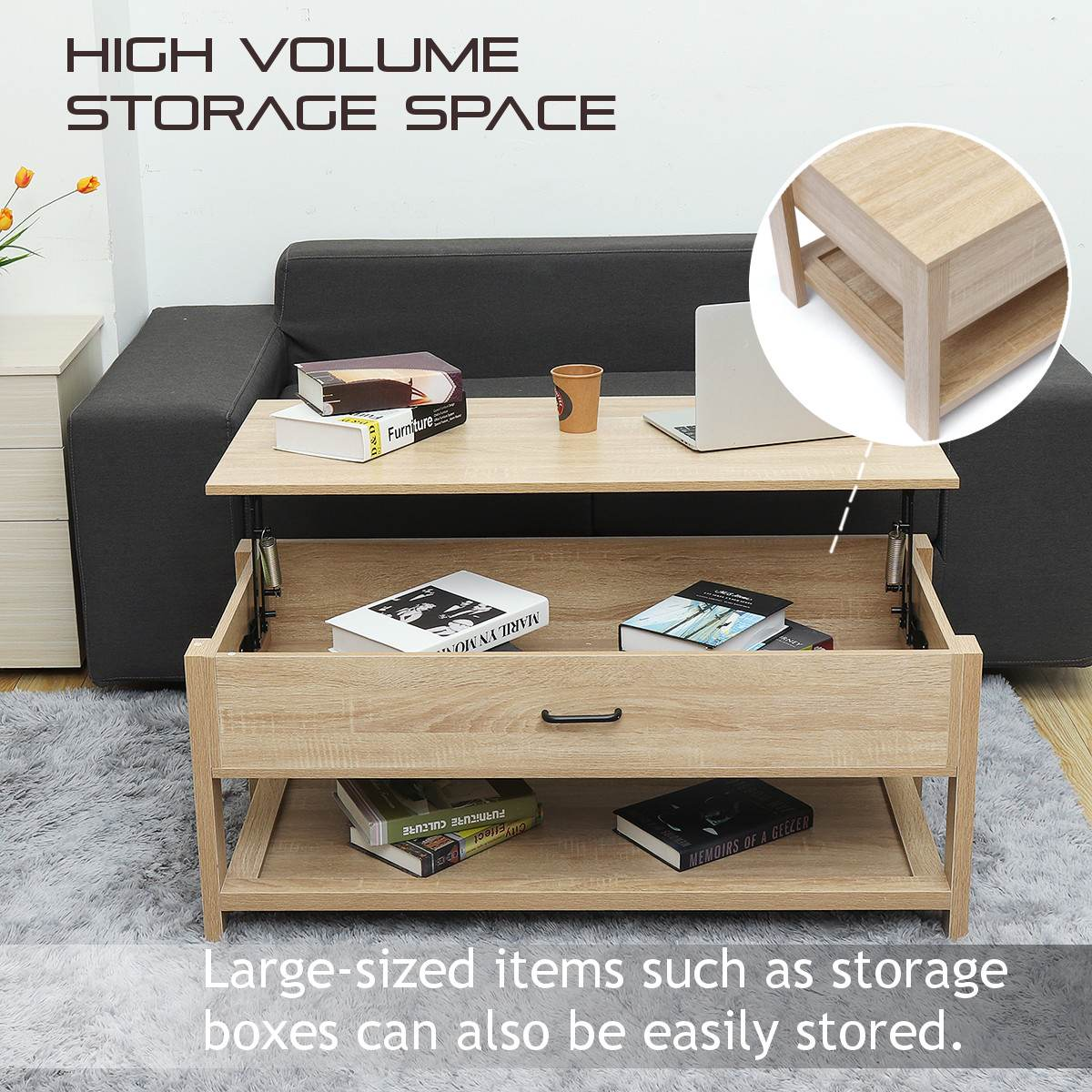 Modern Multifunctional Adjustable Lift Top Coffee Table Sofa Side
