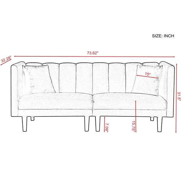 Dual Purpose Futon Sofa Bed Sleeper with 2 Pillows 3-Color Linen Blend Fabric 73.6x32.3x31.5 Inch U.S. Stock 2