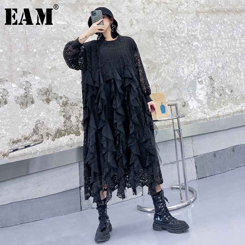 [EAM] Women Black Lace Ruffles Split Big Size Dress New Round Neck Long Sleeve Loose Fit Fashion Tide Spring Autumn 2020 1R432