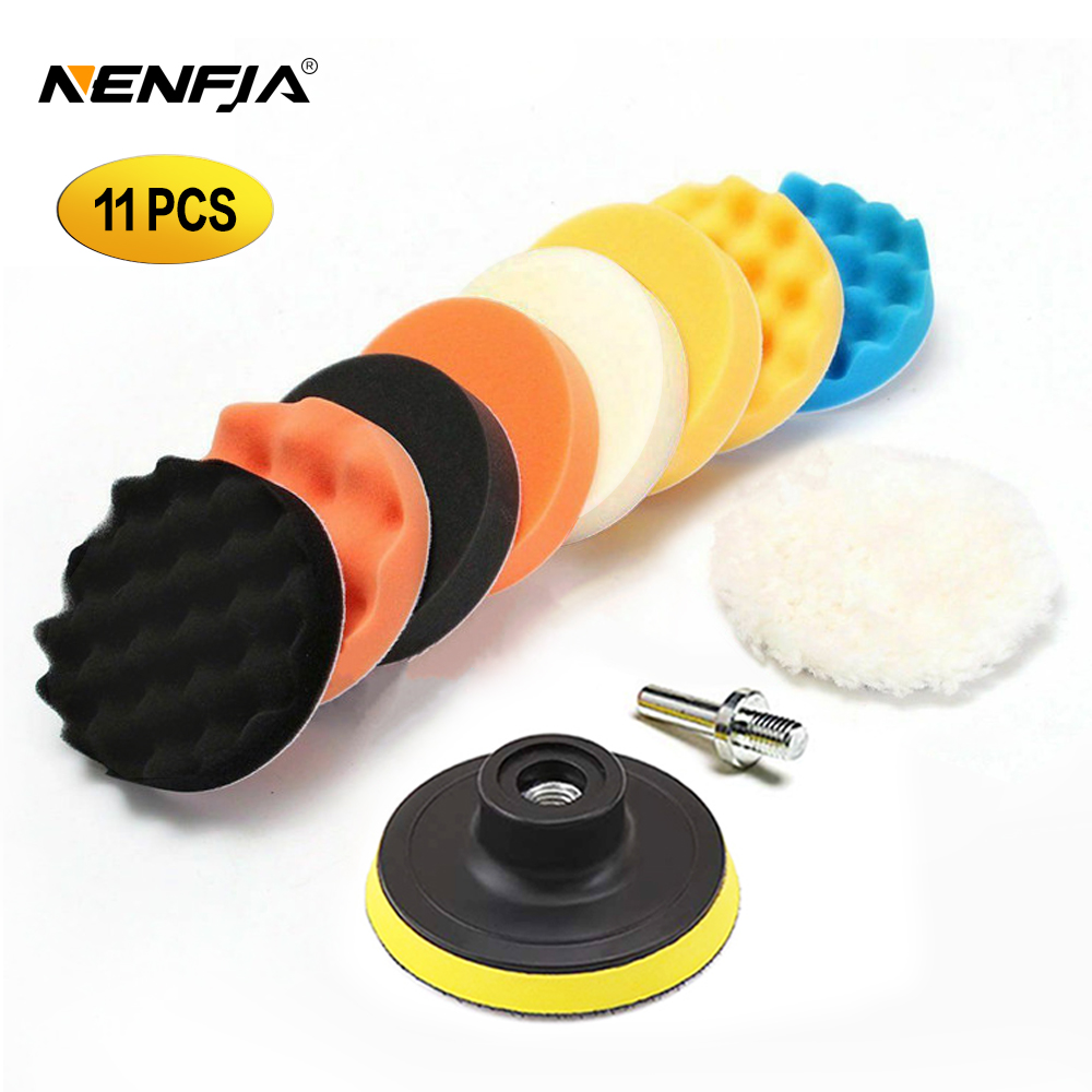11Pcs 3/4/5/6/ inch Waffle Buffer Polishing Pad Set For Car Polisher + Drill Adaptor M10 M16 Power Tools title=