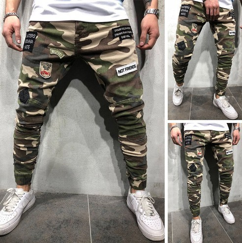 Men's Badge Camouflage Jeans Homme Letter Pleated Pencil Pants Denim Slim Fit Cargo Jeansy Male Streetwear Joggers Cool Trousers