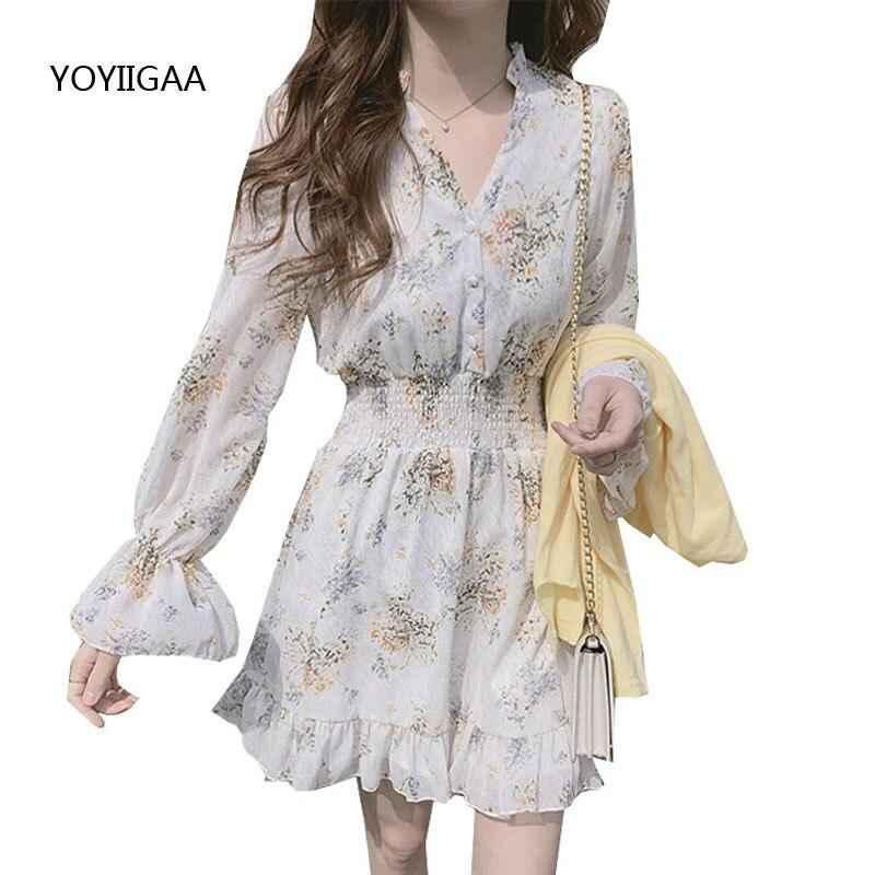 Chiffon High Elastic Waist Party Dress Floral Printed Women Dresses 2020 Summer Sweet Ruffles Ladies Dresses Long Sleeve Dress
