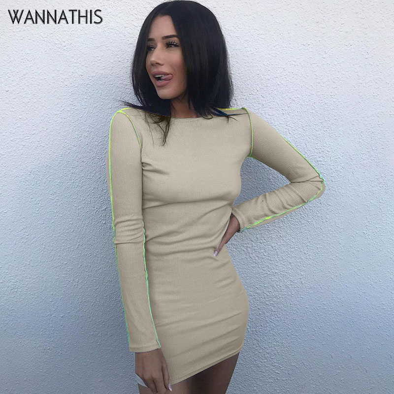 WannaThis Apricot Long Sleeve Dress Knitted Bodycon Autumn Round Neck Slim Women Casual Streetwear Patchwork Mini Dresses New