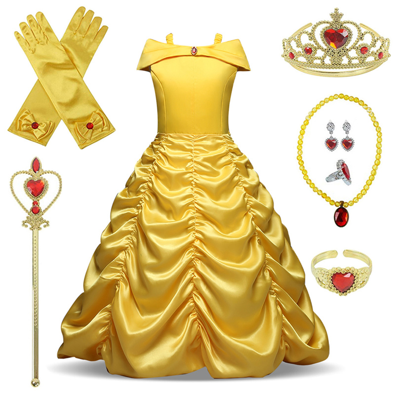 Cosplay Belle Princess Dress Girls Dresses For Beauty And The Beast Kids Party Clothing Magic Stick Crown Children Costume 4-10Y