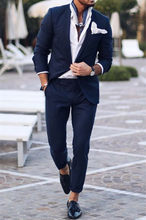 Marineblauw Cusual Tuxedo Men Suits 2 Stuks Pak Blazer Petal Revers Kostuum Homme Terno Party Kostuums (jas + broek)(China)