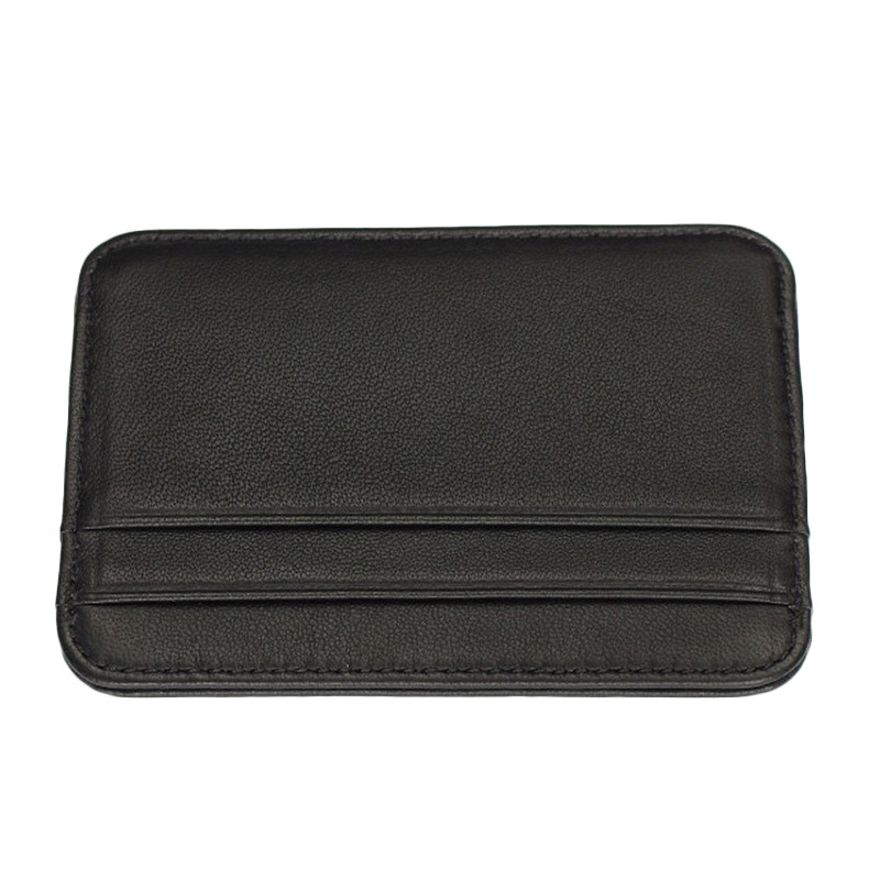Genuine Leather Card Holder Slim Business Card id Holder Credit Card Case Thin Small Wallet for men Cardholder Sticker black