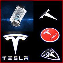 Luz LED de bienvenida con logotipo 3D para coche, lámpara de señal decorativa Nano para Tesla modelo 3, modelo X, Modelo S Y accesorios