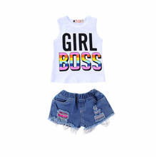 1-4Y baby clothes girl infant white boss letter printed tank top+denim short pants summer
