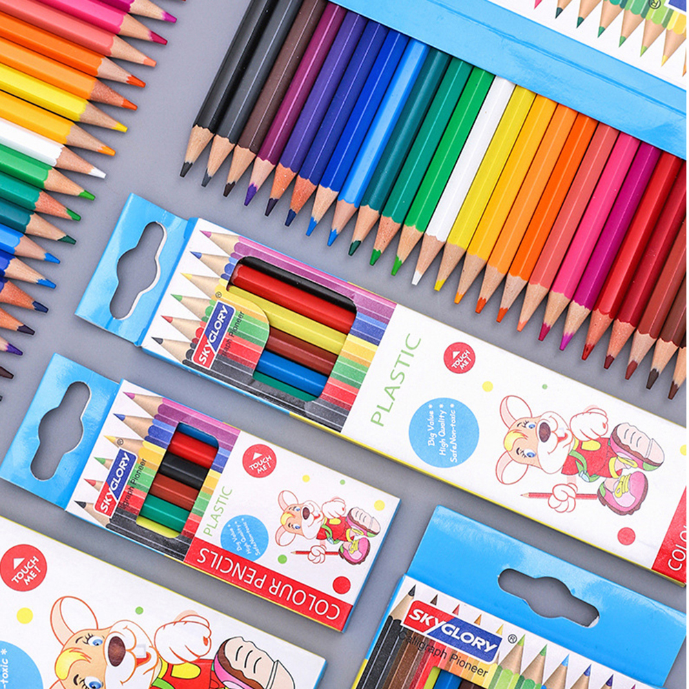 6/12/18/24 Color Kawaii Color Pencils Cute Wooden Colored Pencil Set Wood Color Pencil For Kid School Graffiti Drawing Painting