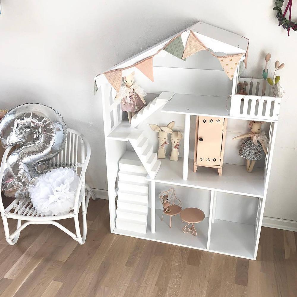 Dollhouse Children's House Bookcase Bookshelf Nordic Style House Doll House Toy Storage Cabinet
