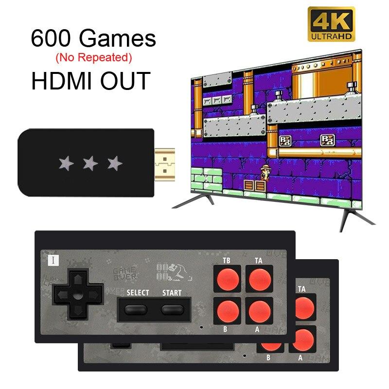 Usb sem fio handheld tv vídeo game console construir em 568 clássico 8 bit mini game console dupla gamepad saída hdmi