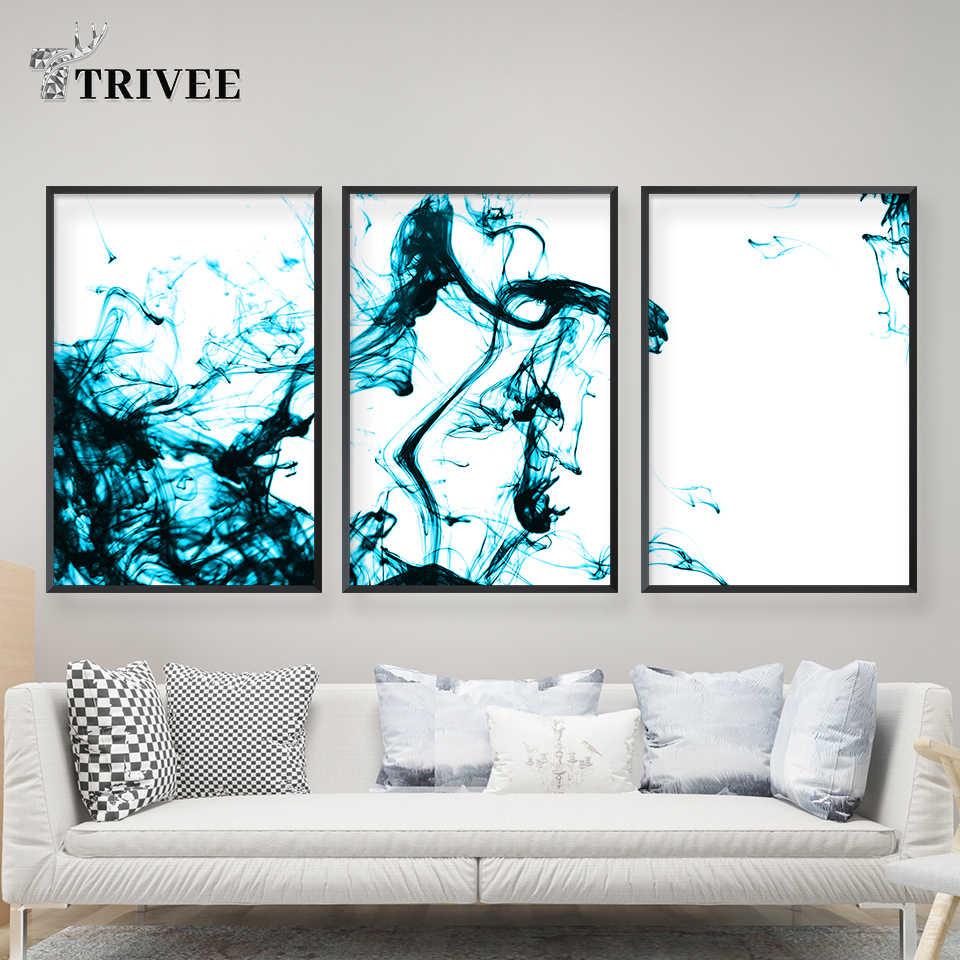 Голубая вода скандинавский акварельный печати абстрактный рисунок на холсте картина плакат стены искусства для Гостиная Ванная комната декоративные